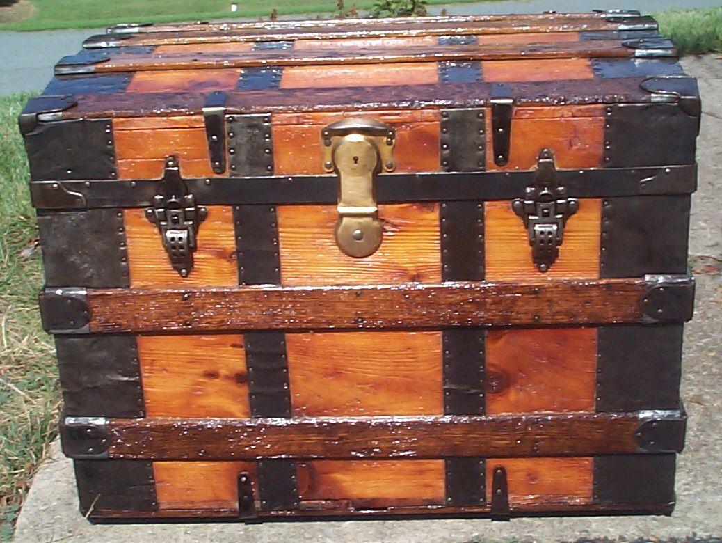 restored all wood rolltop antique trunk for sale 880
