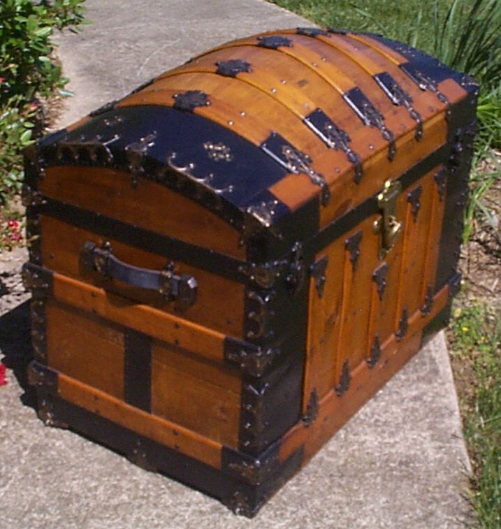 restored all dome wood top oak slat trunk for sale 881