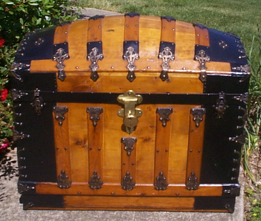 restored all wood dome top antique oak slat trunk for sale 881