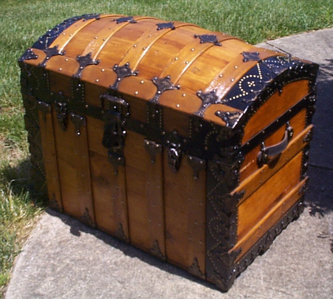 restored wood dome top antique steamer trunk for sale 882
