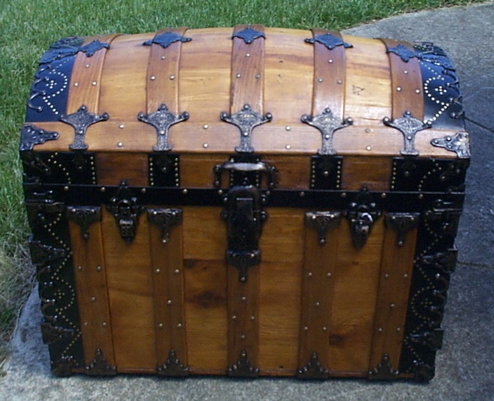 restored all wood dome top antique steamer trunk for sale 882