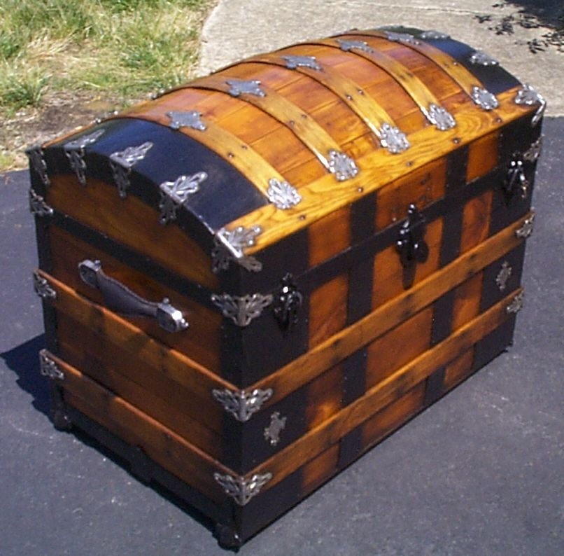 restored antique trunks for sale as navy retirement gift or navy shadowbox idea