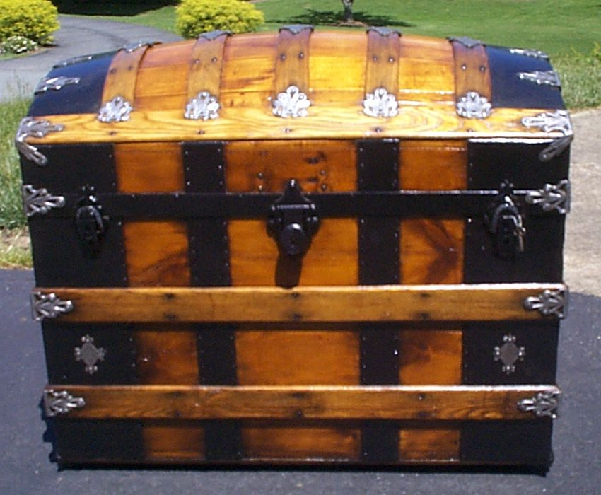 restored all wood dome top antique steamer trunk for sale 883