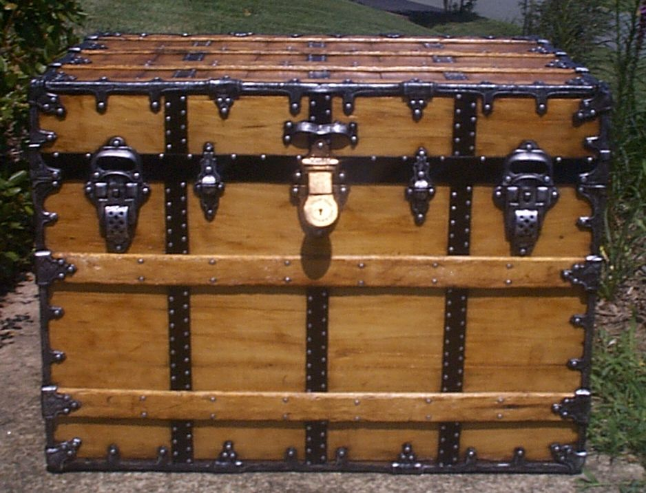 restored all wood flat top antique steamer trunk for sale 884