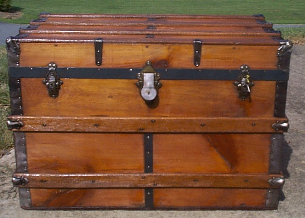 restored all wood flat top antique steamer trunk for sale 885
