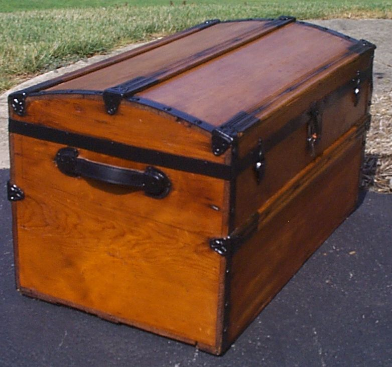 restored all dome top antique oak slat steamer trunk for sale 886