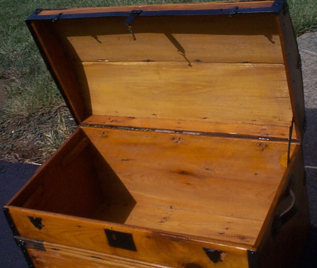 restored all wood dome top antique oak slat steamer trunk for sale 886