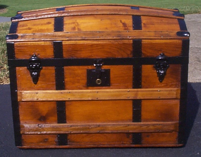 restored all wood dome top antique steamer trunk for sale 887