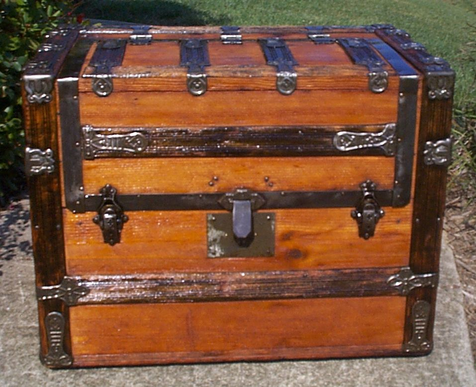 restored all wood wallsaver flat top antique steamer trunk for sale 888