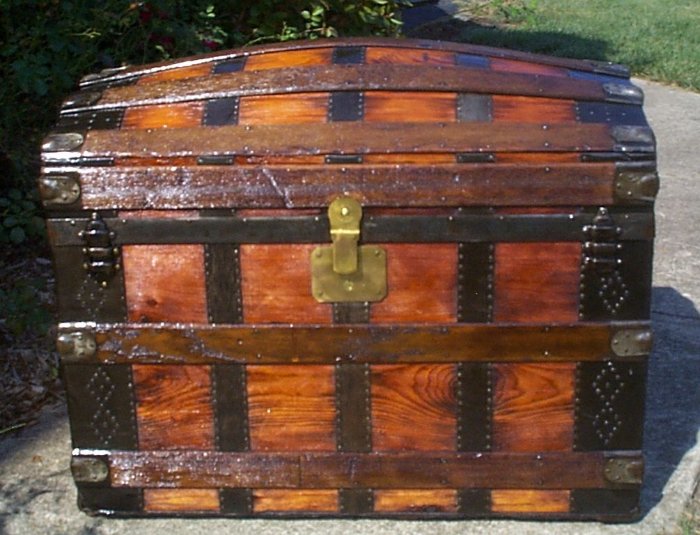 restored all wood dome top antique steamer trunk for sale 889