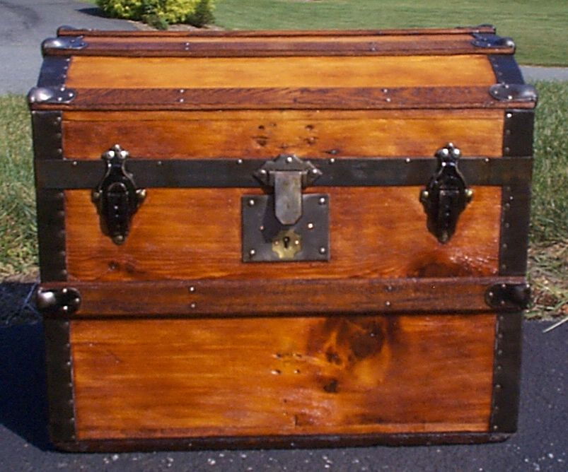 restored all wood dome top antique steamer trunk for sale 890