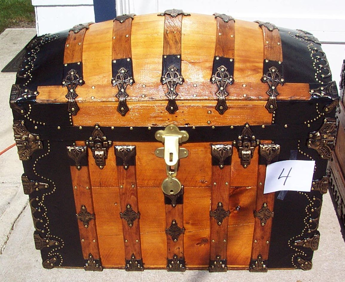 restored all wood dome top antique steamer trunk for sale 904