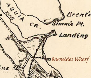 aquia landing, aquia creek burnsides wharf map