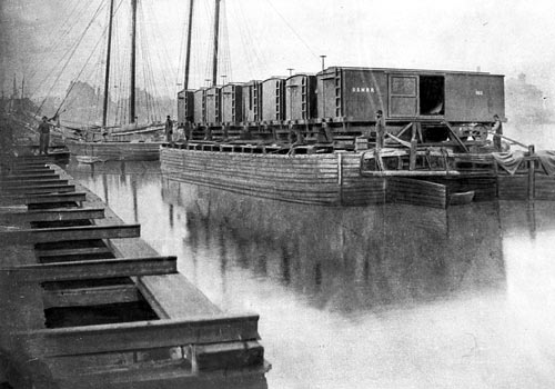 aquia landing, acquia creek railroad car float barges