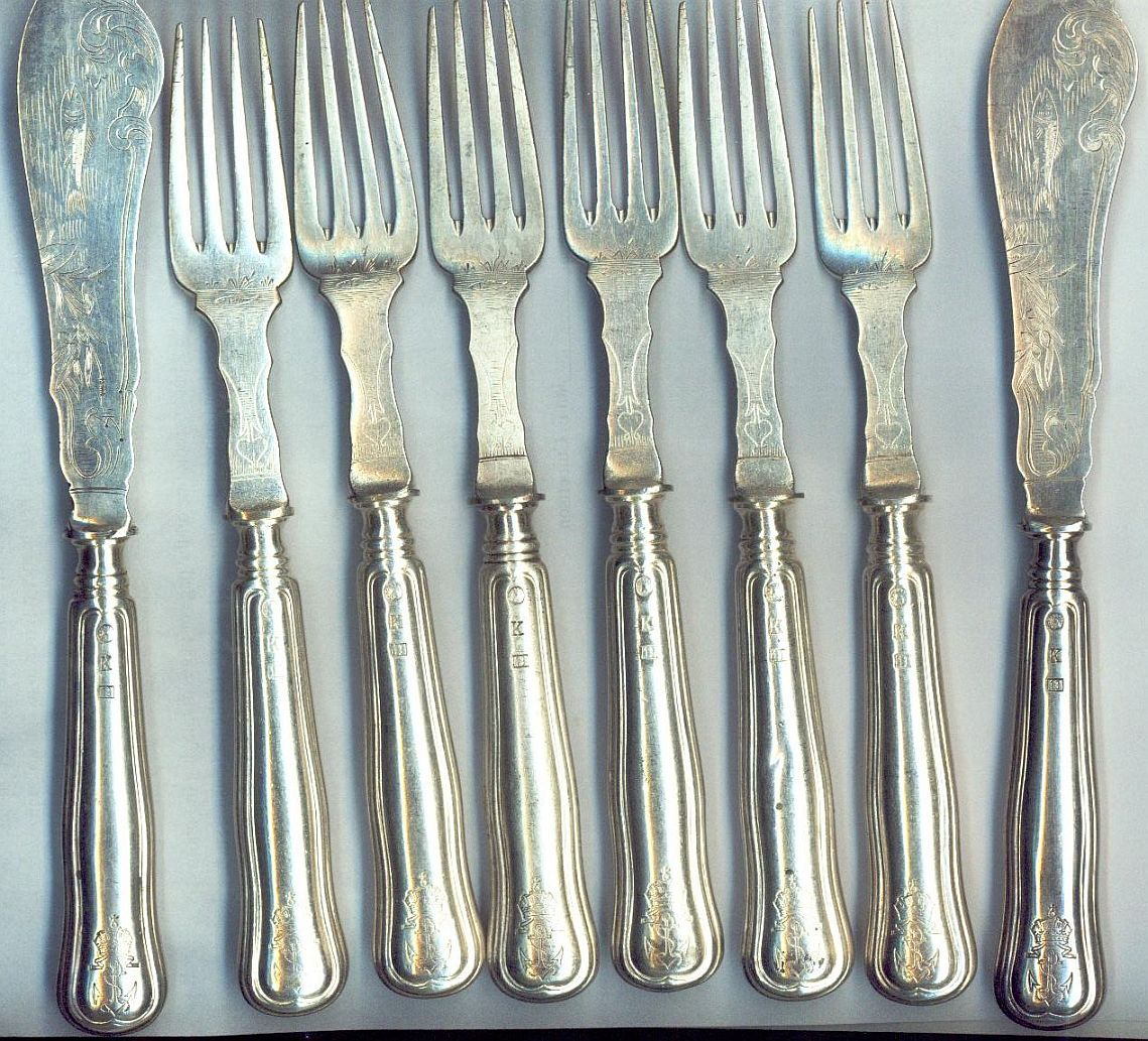 fish forks and knives, austro-hungarian KuK Kriegsmarine navy crown and anchor insiginia