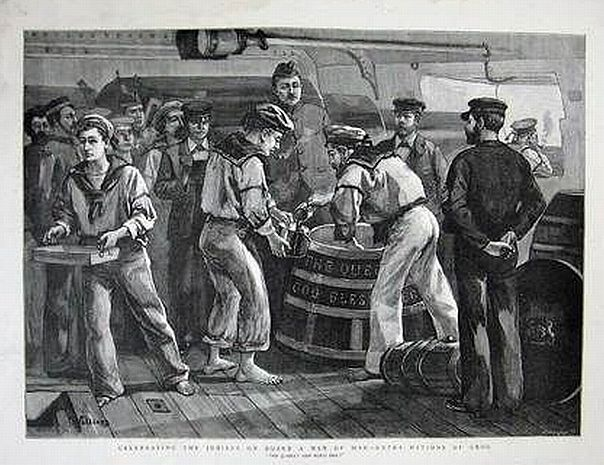 artist depiction of serving out the grog aboard the hms jubile ca 1887