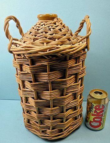 British Royal Navy Imperial Rum Demijohn with Wicker and Red Stripe