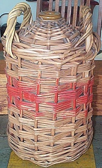 British Royal Navy WWII Imperial Rum Demijohn with Wicker and Red Stripe