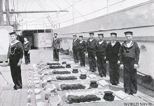 british royal navy ditty box at inspection on HMS Lion