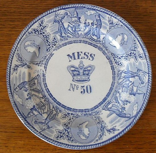 1850-1901 British Royal Navy Mess Bowl No 50 Queen Victoria with Crown & Authentic Victorian Royal Navy Mess Plates Mess Bowls Rum Cups and ...
