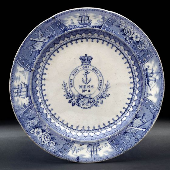 1850-1900 British Royal Navy Mess Plate No 2, Ships and Flowers, with Anchor