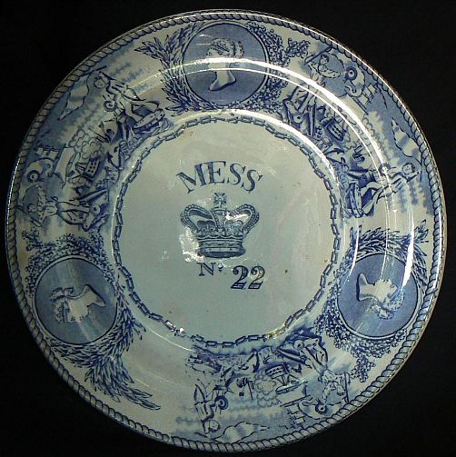 1850-1901 British Royal Navy Mess Plate No 22, Queen Victoria with Crown