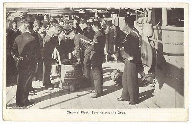 Serving Grog British Royal Navy Channel Fleet 1907