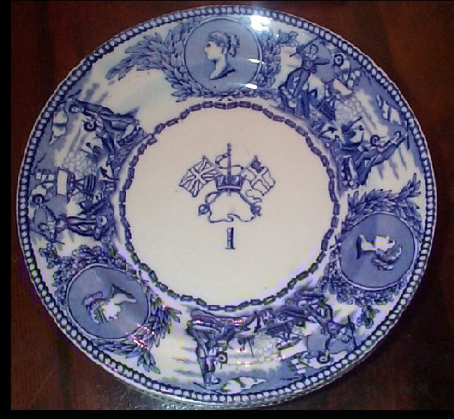 1850-1901 British Royal Navy Mess Plate No 1, Victoria, with Flags