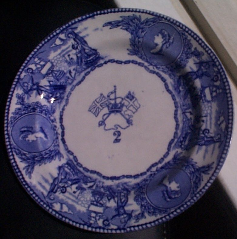 1850-1901 British Royal Navy Mess Plate No 2, Victoria, with Flags