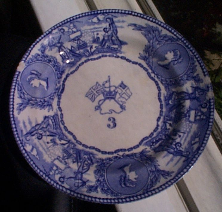 1850-1901 British Royal Navy Mess Plate No 3, Victoria, with Flags