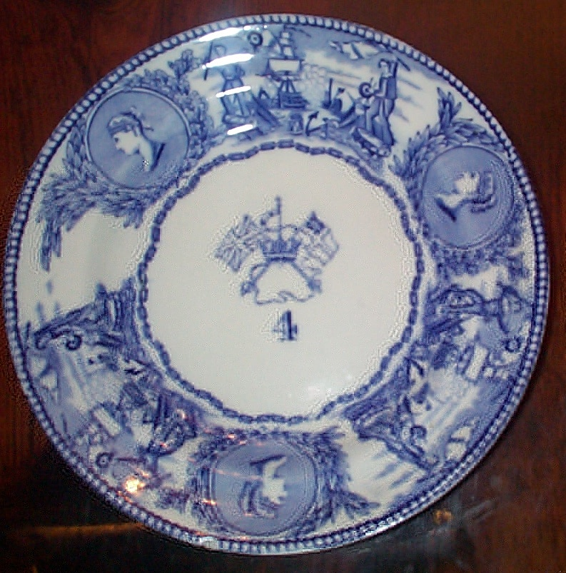 1850-1901 British Royal Navy Mess Plate No 4, Victoria, with Flags
