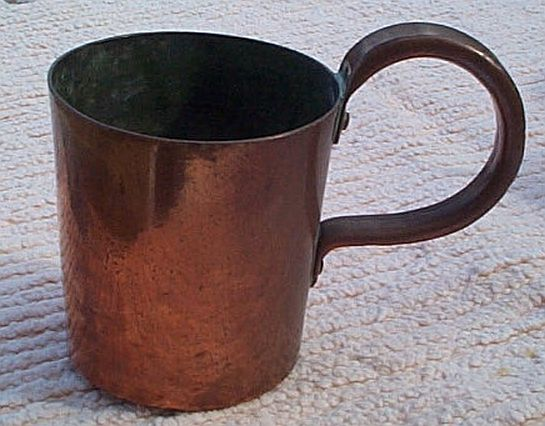 royal navy 1 quart copper measure for rum and grog, george v cipher stamp