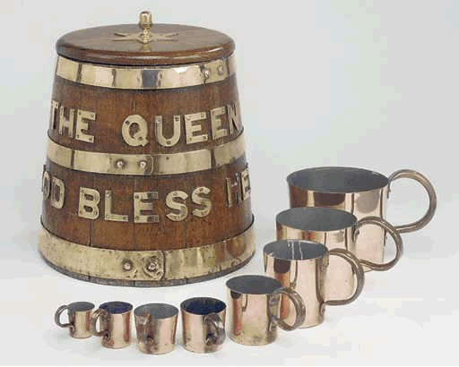 british royal navy rum cup copper measures 8 Piece Collection