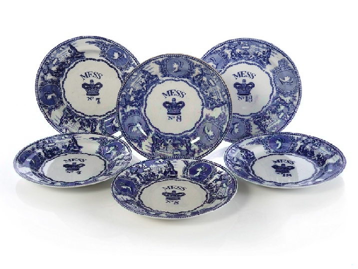 royal navy mess plates in the young head pattern by bovey tracey ca 1850-1900