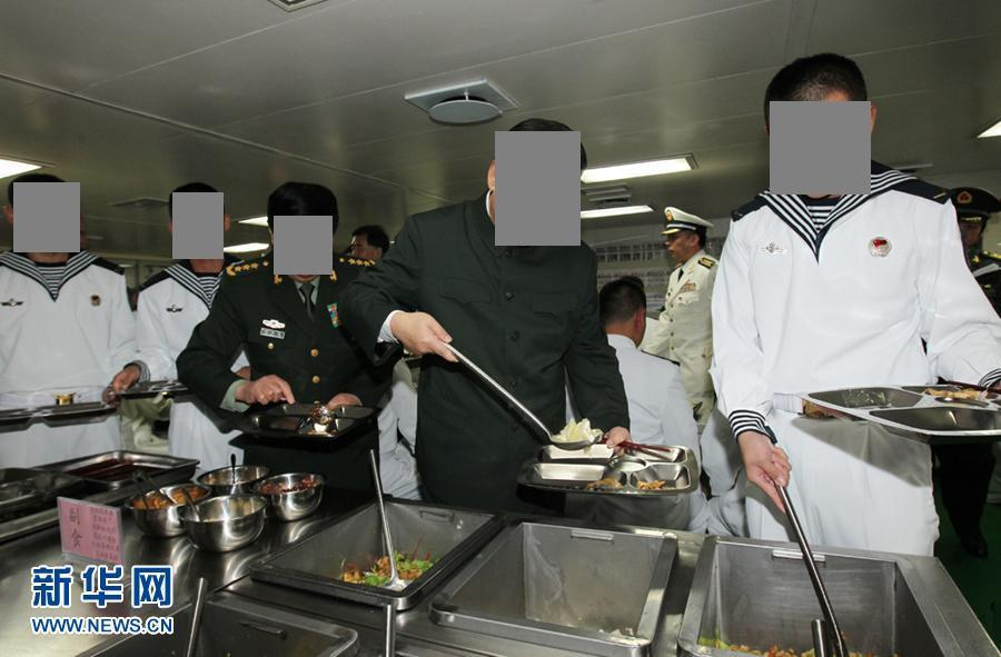 peoples liberation army navy mess hall showing enlisted and officers using the same stainless tray