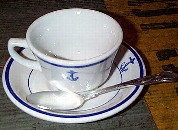 Wardroom Officer Coffee Cup, Saucer, Teaspoon