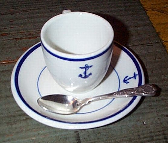 Wardroom Officer Demitasse Coffee Cup, Saucer, Teaspoon