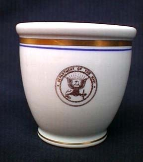department of the navy vintage china single ended egg cup or mug