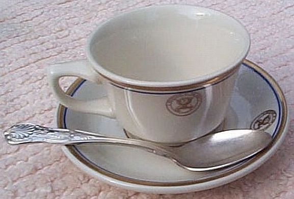 department of navy coffee or tea cup, saucer, teaspoon set