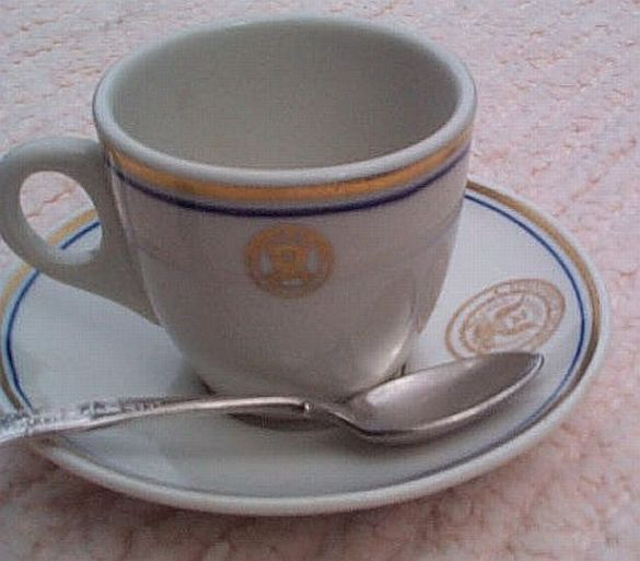 department of navy china demitasse or expresso coffee cup, saucer, teaspoon set