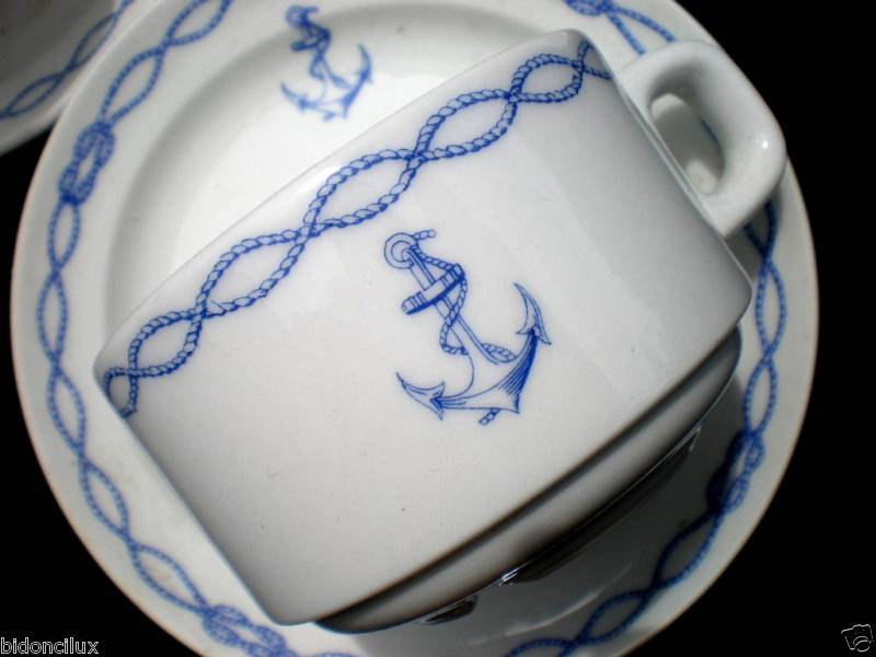 1950-1960 French Navy Coffee Cup and Saucer