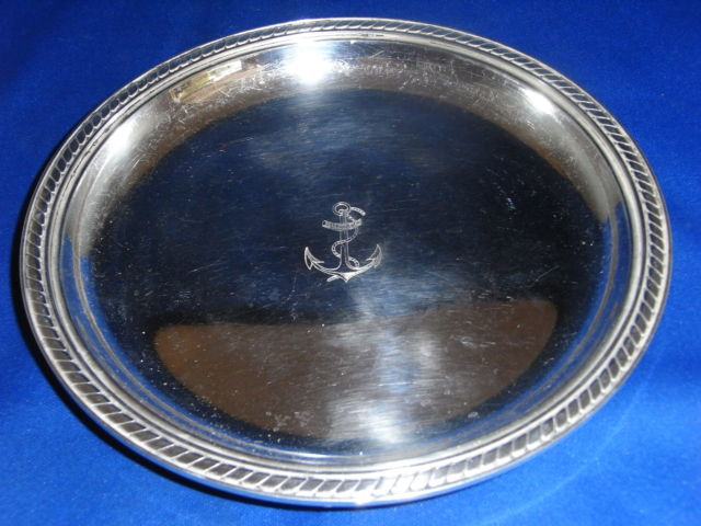 French Navy Silverplated Bottle Coaster