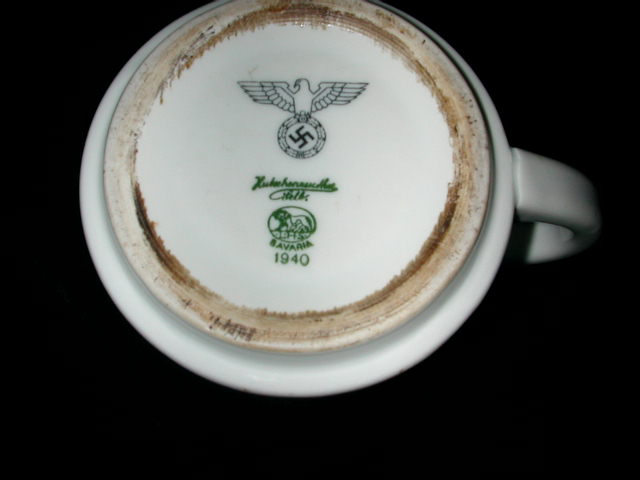Third Reich Waffenamt stamp on German Army Cup dated 1940