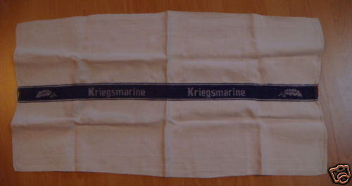 WWII Kriegsmarine Hand Towel with Oak Leaf Design