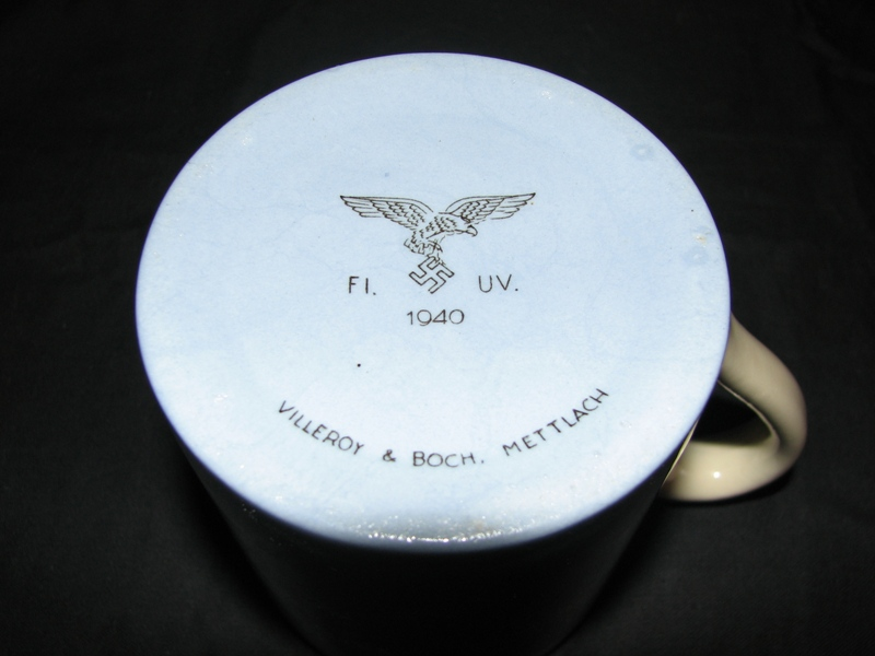 Third Reich Air Force Luftwaffe Waffenamt Stamp on a cup