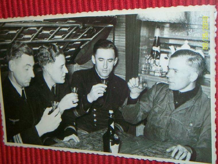 U-boat unknown in captains cabin officers toasting