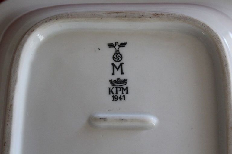 serving bowl w/ red striping German Kriegsmarine WWII