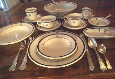 full navy china placesetting, anchor