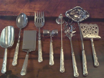 US Navy Kings Design Complete Set Silverplate Serving Pieces
