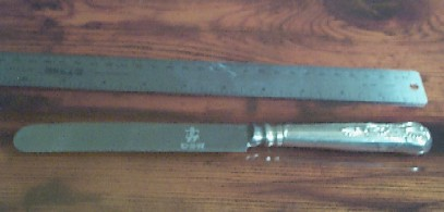 US Navy Silverware Kings Design Old Dinner Knife Anchor on Blade